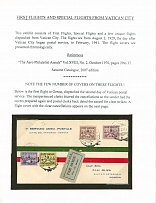Vatican City First and Pioneer Flight Covers and Aerogramme Collection 1929-74