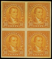 United States, 1923, Monroe, 10c orange, imperforated block of four