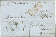 "1849, letter sheet from New York with handwritten endorsement ""p. St. Canada"