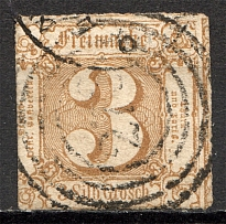 1865 Thurn und Taxis Germany 3 Gr (CV $50, Signed, Cancelled)