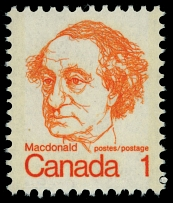 Canada, 1973, Sir. John A. MacDonald, 1c orange, printed on gum side