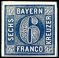 6 kreuzer steal blue, dry design, full to with wide margins, right and left