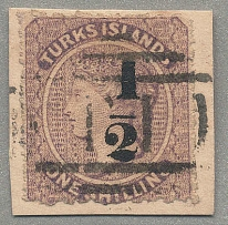 1881, 1/2 d. on 1 s., lilac, with black surcharge type 9, used on piece, very at