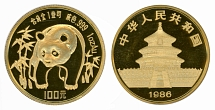 PRC 1986, Panda, 100 yuan, BU gold coin, weight 1 oz, NGC certified, MS68PL