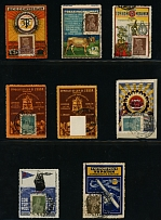 Soviet Union, GROUP OF POSTAL ADVERTISING LABELS: 1923-29, nine items