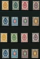 Imperial Russia 1884-88, 1k-70k, two sets of eight on horizontally laid paper