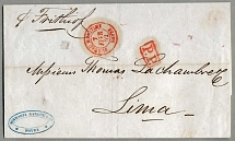 1852, ecxeedingly rare prepaid cover from HAVRE/BUREAU MARITIME (in red) to
