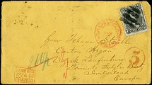 "1868, Lincoln 15 c. black tied by cork cancel to envelope from ""NEW YORK PAID"