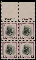 United States, 1938, Presidential issue, Wilson, $1 purple and black, blk of 4