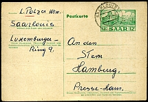 Saar 1953 - 12 F green postal stationery card