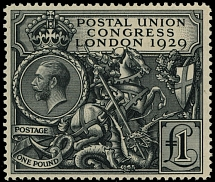 Great Britain, 1929, King George V, UPU Congress, £1 black