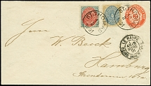 1891/95, Envelope 3 c. red with additional franking 3 c. and 4 c. (both normal