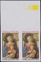 United States, 1984, Christmas issue, Madonna and Child, 20c, horiz imperf pair