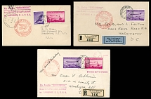 Liechtenstein May 6-9, 1936 Airship ''Hindenburg'' First NAF card and two covers