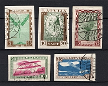 1932 Latvia Airmail (Signed, Full Set, CV $145, Canceled)