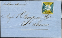 1875, First printing 10 cents black on greyish green-blue and dark-yellow,