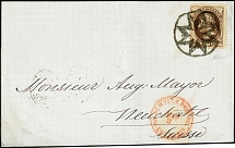 1874, Jefferson 10 c. dark brown, tied by New York Foreign Mail Star cancel to