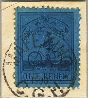 1900, 1 d., deep blue/ blue, used on piece with cancel MAFEKIN, MY 5 1900, perf.