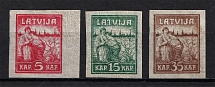 1919 Latvia (Pelure Paper, Full Set, CV $60, MNH/MH)