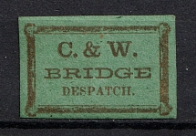 1864 `C.&W.` Bridge Despatch Stamp, Pennsylvania, USA, Local