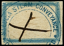 1871 (ca.), white label with blue border and handstamp