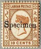 "1880-82, 10 c. brown with local ""Specimen"" handstamp (type LA1), not listed in S"