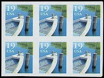 1991, Fishing Boat, 10c multicolored, type I, imperforated block of six (3x2), full OG