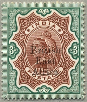 1895, 3 r., brown and green, black British East Africa opt on INDIAN stamp, wmk