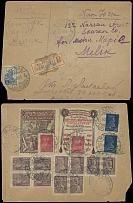 Soviet Union MOSCOW: 1923, two labels of different Printing Companies on cover