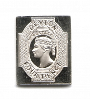 1857-59 Ceylon 4 P (Sterling Silver Miniature, Greatest Stamps of The World)