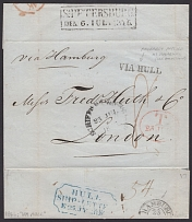 1846. Departure from St. Petersburg via Hull to London. 1846. Pre-stamped intern