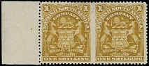 RHODESIA - BRITISH SOUTH AFRICA COMPANY: 1898-1908, Arms, 1s bister, perforation 15¼, left sheet margin horizontal pair, imperforated between stamps
