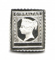 1889 Gibraltar 10 C (Sterling Silver Miniature, Greatest Stamps of The World)