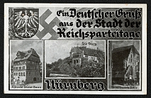 "1935 Reich party rally of the NSDAP in Nuremberg,  Albrecht Durer's house, the Imperial Castle, and the Bratwurstglockle, a ""Beer Restaurant"""