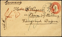 "1854 (approx.), postal stationery envelope 3 c. as unpaid cover from ""GLENN"