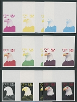 1991, White Headed Eagle, $2.90, nine imperforated stage proof top sheet margin horizontal gutter pairs, in magenta, yellow