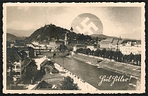1938 Graz, Mur Schlossberg Heil Hitler! Special Postmark was used only on 20 April 1938,