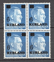 1945 Germany Occupation of Kurland Block of Four (3xSmall `6`, CV $140, MNH)