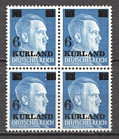 1945 Germany Occupation of Kurland Block of Four 6 on 20 Pf (CV $90, MNH)