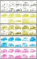 2001, 30 sen., Malaysian cars, set of 5 blocks of (10), 5 matching colour phase