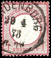 1 Gr. Carmine, double embossing large shield, the first embossment resulted