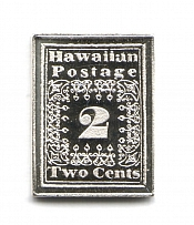 1851 Hawaii 2 C (Sterling Silver Miniature, Greatest Stamps of The World)