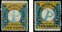 1875, Second printing 10 cents black on green-blue and yellow, two singles, one