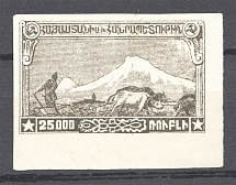 1921 Russia Armenia Civil War 25000 Rub (Black Olive Probe, Proof, MNH)