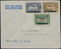 Liberia - Air Post stamps and covers, 1936, Palm Tree, surcharged issue