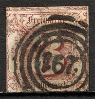 1859-61 Thurn und Taxis Germany 3 Gr (CV $130, Signed, Cancelled)