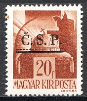 1945 Roznava Slovakia Ukraine CSP Local Overprint 20 Filler (MNH)
