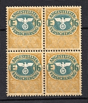 `16` Employee Insurance Revenue Stamps, Germany (Block of Four, MNH)