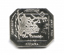 1856 Guiana 1 C (Sterling Silver Miniature, Greatest Stamps of The World)