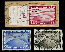 Germany 1931, Zeppelin North Pole Flight, 1m, 2m and 4m, complete set, used